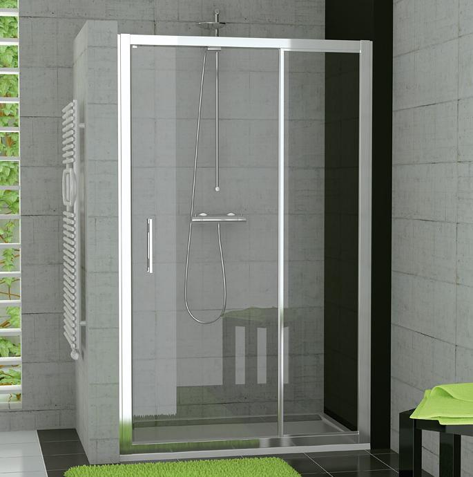 RONAL TED TOP-Line jednokřídlé dveře+pevná stěna, 120 cm, aluchrom/linie TED12005051