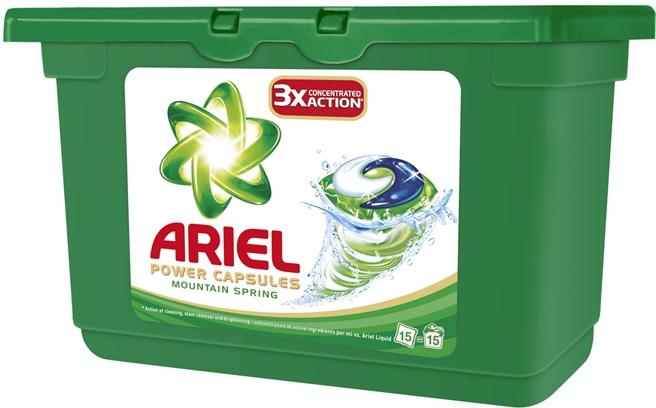 Ariel Active Gel Mountain spring prací gelové poštářky na bílé prádlo 15 ks