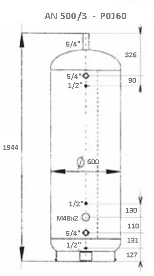Atmos Akumulační nádrž 500 l/3 bez izolace s 140l bojlerem + solár P0160