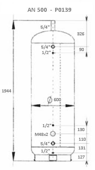 Atmos Akumulační nádrž 500 l bez izolace P0139