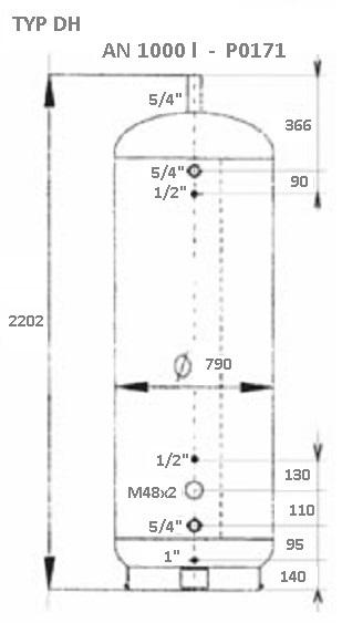 Atmos Akumulační nádrž DH 1000 l bez izolace P0171