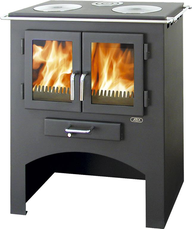ABX Kuchyňský sporák na dřevo s lit. plotýnkami bez trouby 3020 L, šedý plech