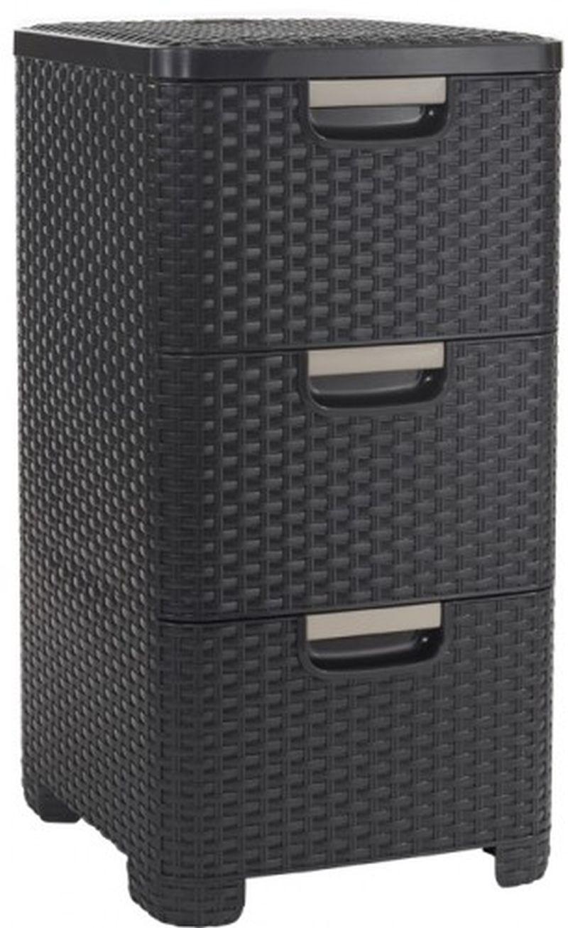 VÝPRODEJ CURVER Zásuvka 3x 14l RATTAN Style - hnědá 06604-210, PRASKLÉ NA PRAVÉM BOKU