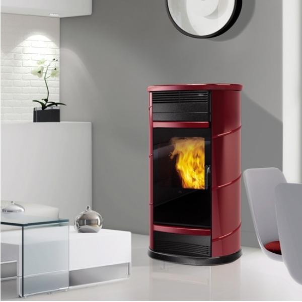 EDILKAMIN FUJI teplovodní kamna na pelety, 18kW, červená 755520