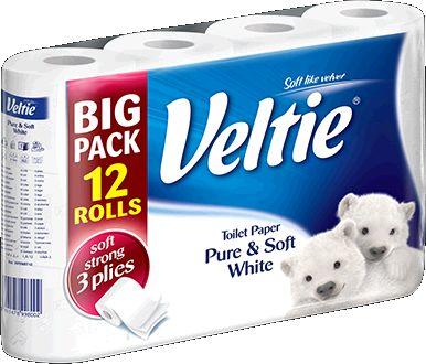 KLEENEX Welcomes Veltie Toaletní papír 12 rolí, 3-vrstvý, bílý 149786