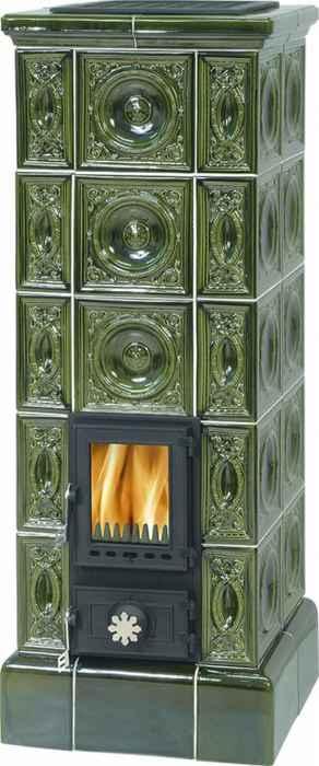 ABX Kopec, kachlová kamna na dřevo s plechovou vložkou, zelená