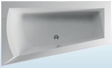 TEIKO Vana Nera 170 L asymetrická 170 x 100 cm, akrylátová, bílá, levá V110170L04T02001