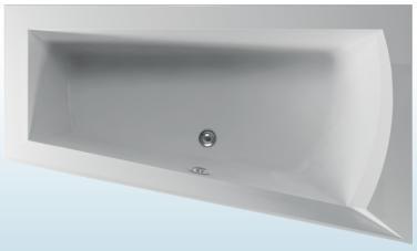 TEIKO Vana Nera 170 P asymetrická 170 x 100 cm, akrylátová, bílá, pravá V110170R04T02001