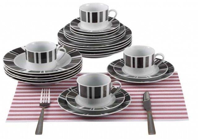 RENBERG Jídelní sada talířů 30 ks / šedo-bílá/ RB-80129