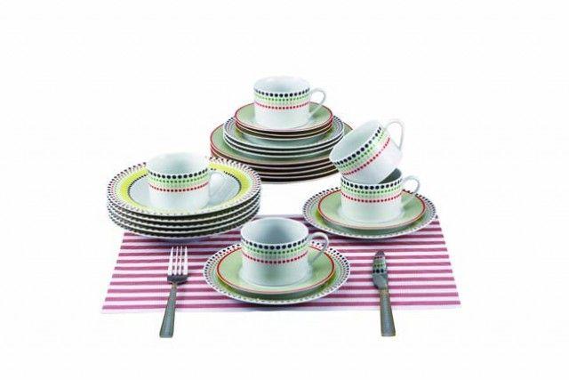 RENBERG Jídelní sada talířů 30 ks / barevné tečky / RB-80130