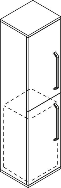 SAPHO KALI 56140L vysoká skříňka s košem 35x140x30cm, levá, wenge/bílá
