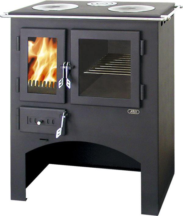 ABX Kuchyňský sporák na dřevo s lit. plotýnkami s troubou 3021 L, šedý plech