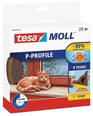 TESA MOLL Gumové těsnění, hnědé, na okna a dveře, P profil, 25m 05391-00103-00