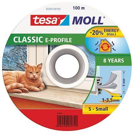 TESA MOLL Gumové těsnění, bílé, na okna a dveře, E profil, buben 100m 55701-00100-00