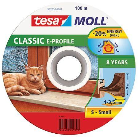 TESA MOLL Gumové těsnění, hnědé, na okna a dveře, E profil, buben 100m 55701-00101-00