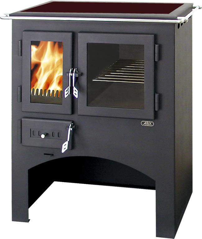 ABX Kuchyňský sporák na dřevo se sklokeram. deskou s troubou 3021 C, černý plech