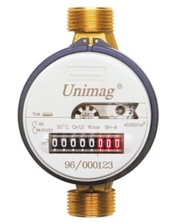 "UNIMAG TU4TV Bytový vodoměr 1/2"", 110 mm na teplou vodu"