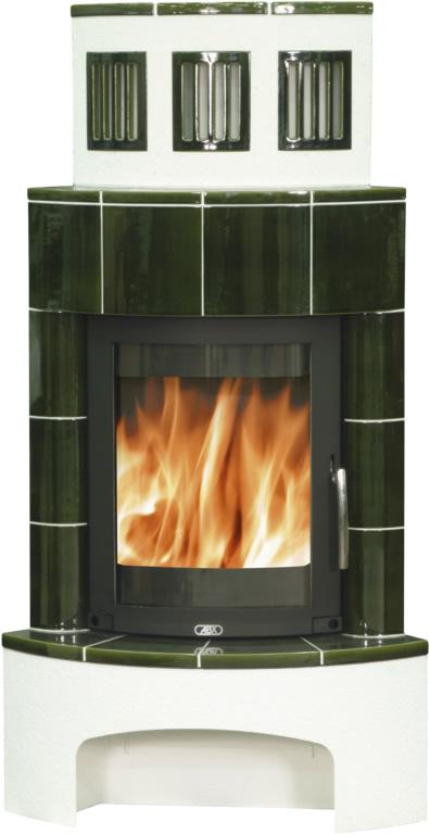 ABX Normandie, kachlová kamna na dřevo s plechovou vložkou, zelená